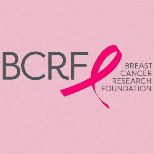 nonprofit charity logo of breast cancer research foundation on a pink background