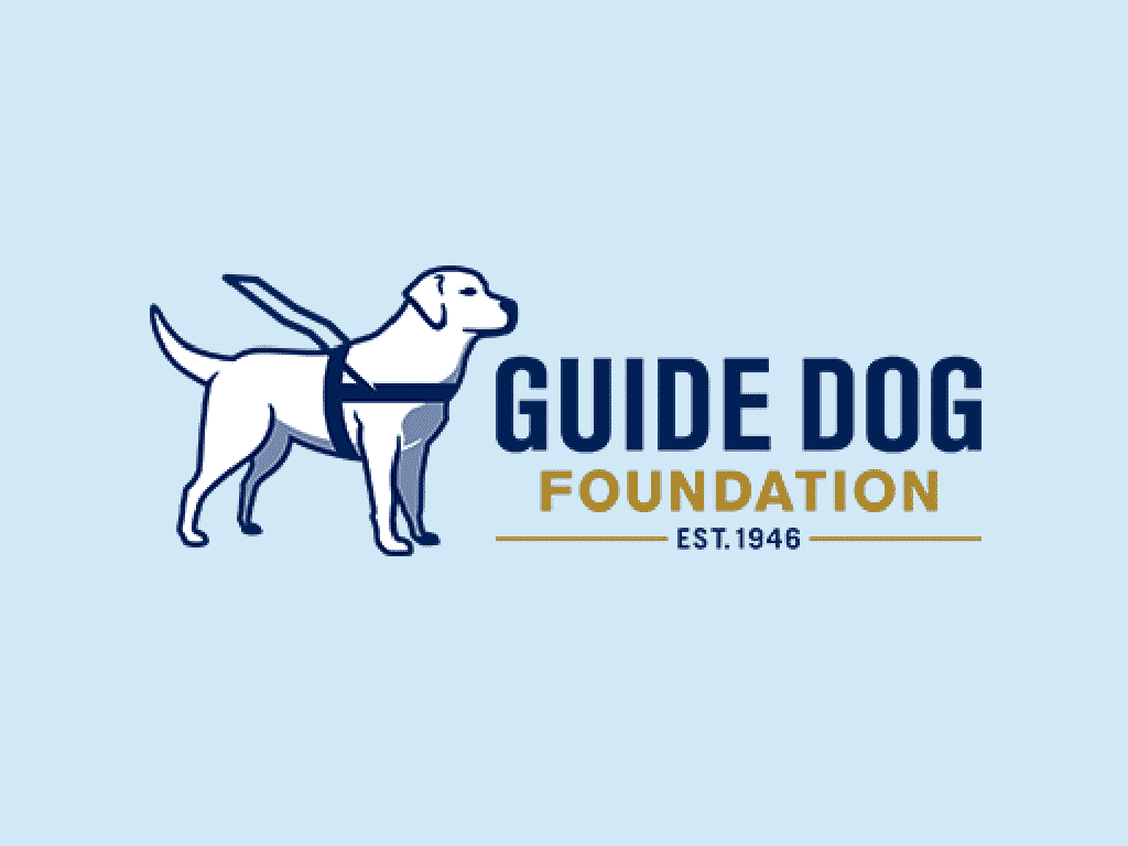nonprofit charity logo of the guide dog foundation on a blue background