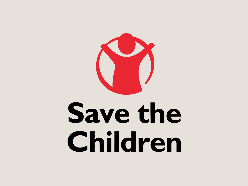 nonprofit charity logo of save the children on a tan background