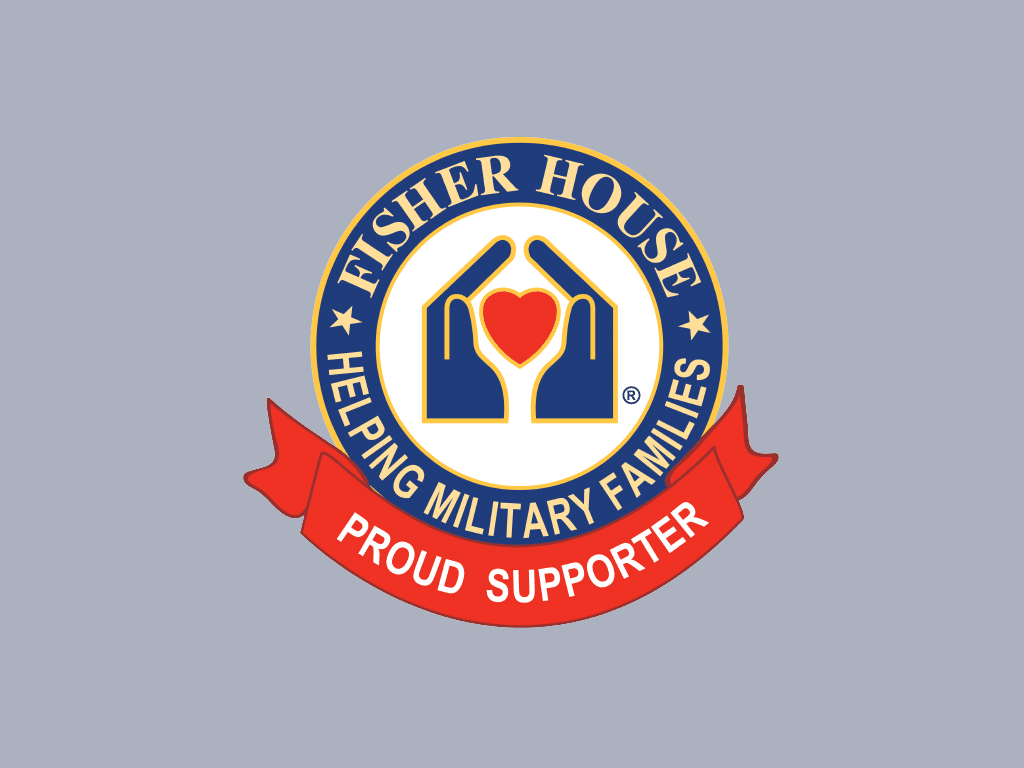 nonprofit charity logo of the fisher house foundation on a grey background