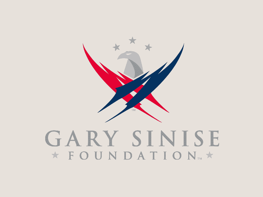 nonprofit charity logo of gary sinise foundation on a tan background