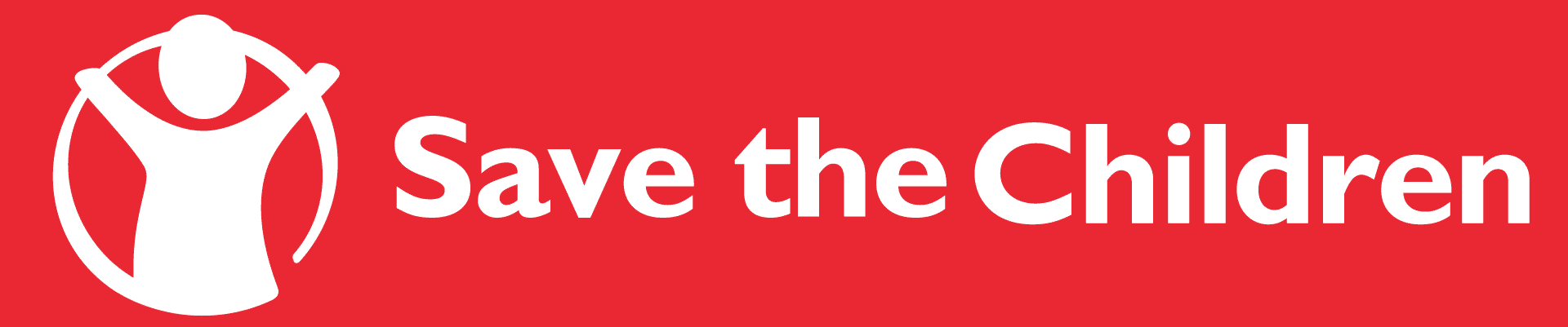 nonprofit charity logo of save the children on a red background